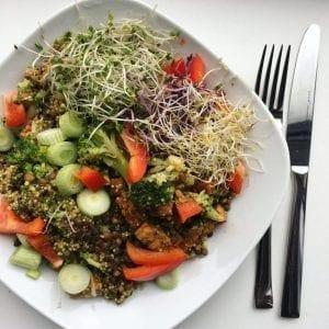 vegan avondeten met quinoa en tofu
