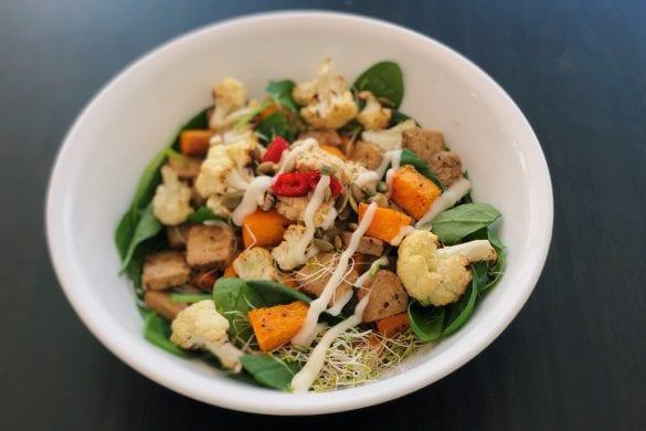 Zoete aardappel salade vegetarisch