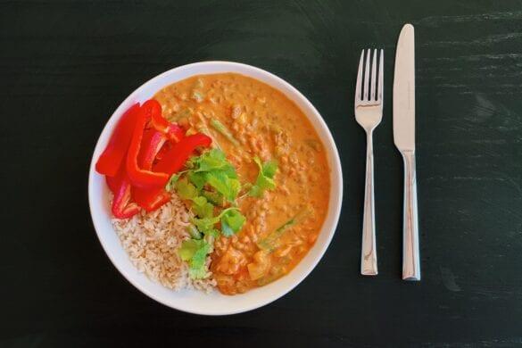 Rijst met vegetarische curry